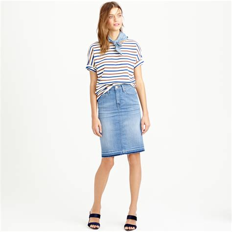 j crew frayed denim pencil skirt in blue lyst