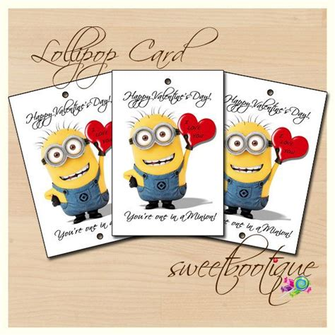 despicable me valentines pin despicable me minion valentines day tag card lollipop