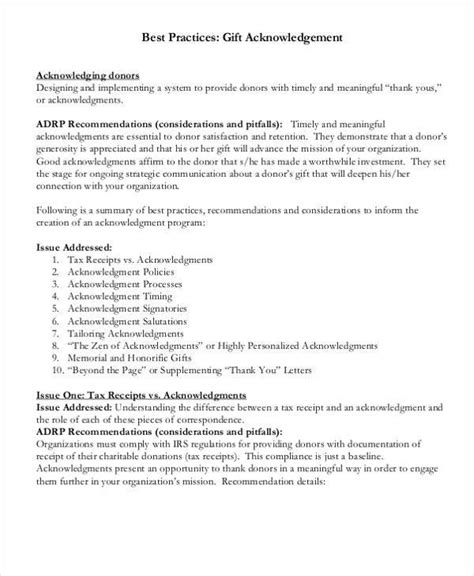 nonprofit acknowledgement letter exles gift acknowledgement letter templates 5 free word pdf