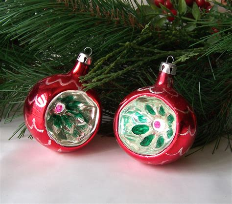 vintage glass christmas ornaments glass ribbed reflector