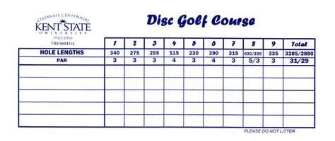 Golf Marking Template by Pin Disc Golf Score Card On