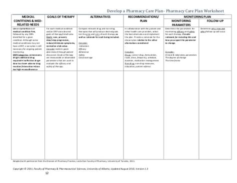 Patient Care Process Faculty Of Pharmacy Alberta 2013 Pharmaceutical Pharmaceutical Care Plan Template