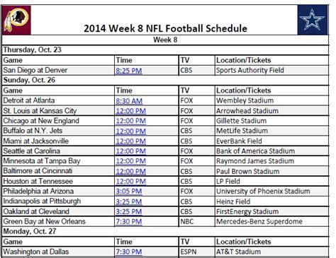 printable nfl schedule week 8 printable 2014 nfl week 8 schedule