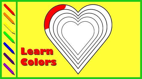 rainbow hearts coloring pages learn colors with rainbow heart coloring page for children