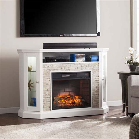 corner tv fireplace stand southern enterprises redden corner electric fireplace tv