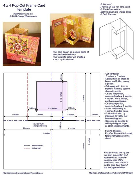 Pop Out Cards Templates 4 x 4 pop out frame card template card folds