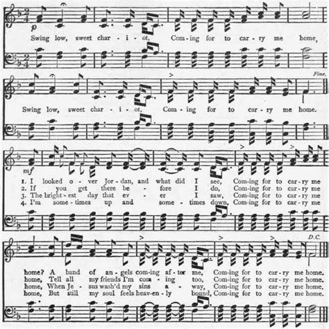 swing low sweet chariot slave song favorite songs hymns for school home sheet music and