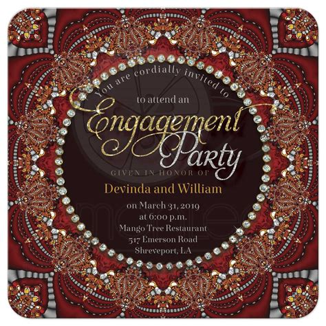 Exotic Bohemian   Indian Fusion Engagement Party Invitation