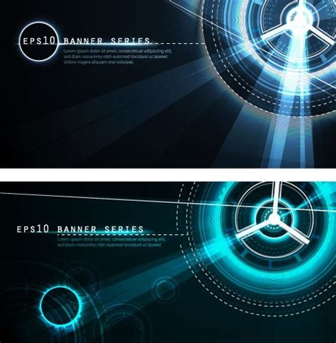 Free Set Of Dark Blue Banners With Technology Circles Backgrounds Titanui Technology Banner Template