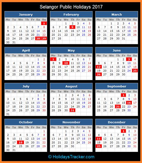Calendar 2018 Malaysia Selangor Selangor Malaysia Holidays 2017 Holidays Tracker