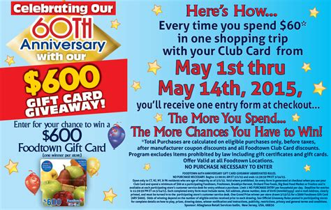 Foodtown Gift Card - 60th anniversary sweepstakes official rules foodtown