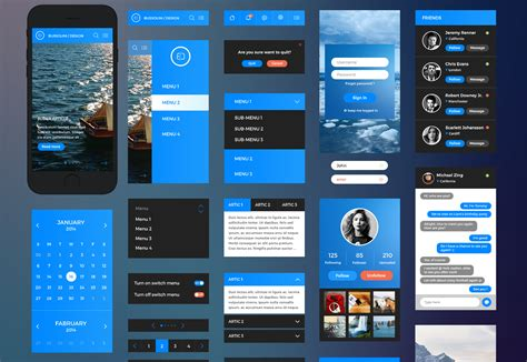 free ui templates for android the best free ui kits february 2015 webdesigner depot