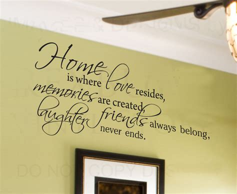 home is where resides family wall sticker quote