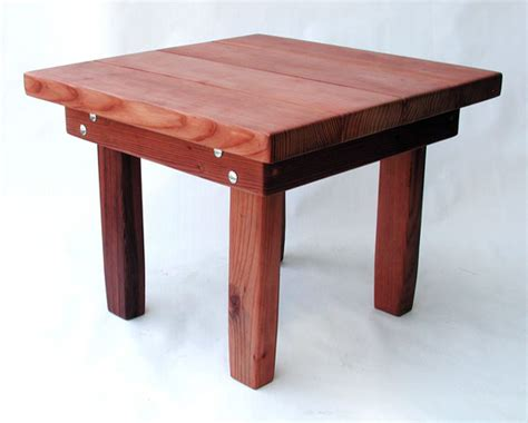 small square side table small square solid redwood side table for outdoors