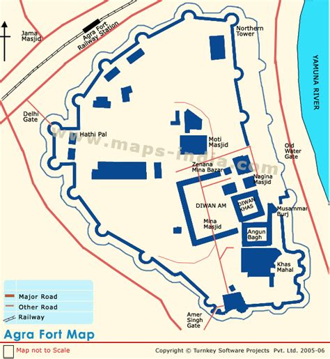 where is fort located in map agra india location of agra fort