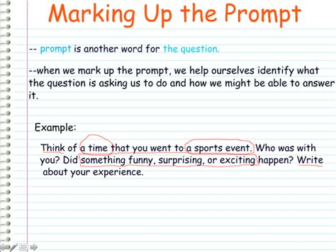 Website Organizer marking up the prompt writing a personal narrative