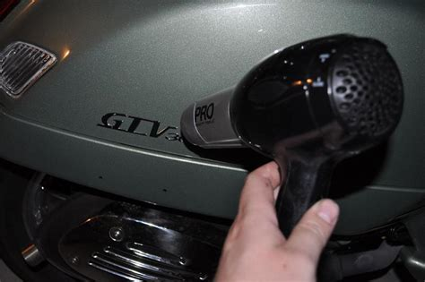 Hair Dryer Glue modern vespa reflector removal and relocated emblems