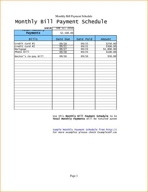Payment Calendar Template