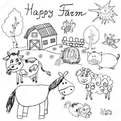 Scheune Gezeichnet by Happy Farm Kritzeleien Symbole Gesetzt Gezeichnete