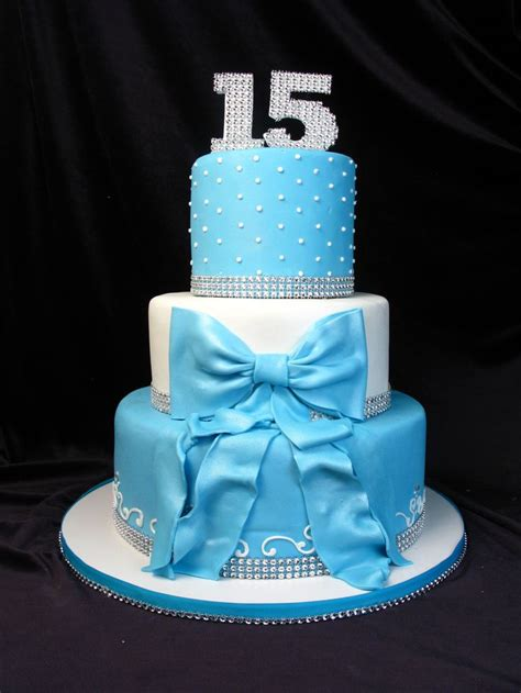 Peacock Decoration by Quinceanera Cake 15th Birthday Blue Tiffany Blue Bow