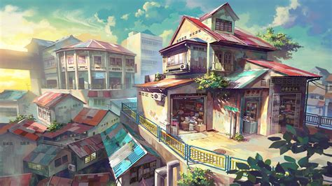 anime village wallpaper anime store full hd wallpaper and background image