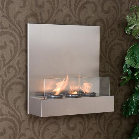 tate stainless steel glass wall mount fireplace free