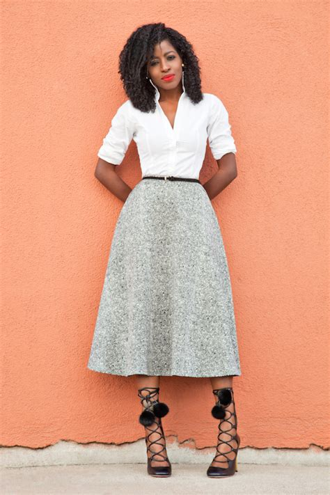 style pantry fitted white shirt swing midi skirt