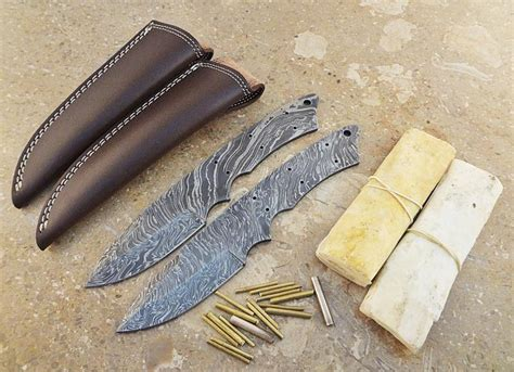 Handmade Knife Kits - lot of 2 handmade damascus blank blades knife kits