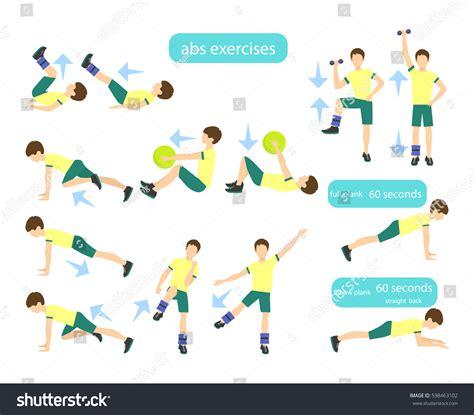 exercises set workout boys abs stock vector 598463102