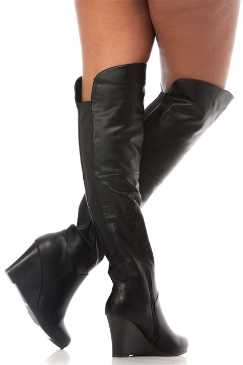black faux leather thigh high wooden wedge boots cicihot