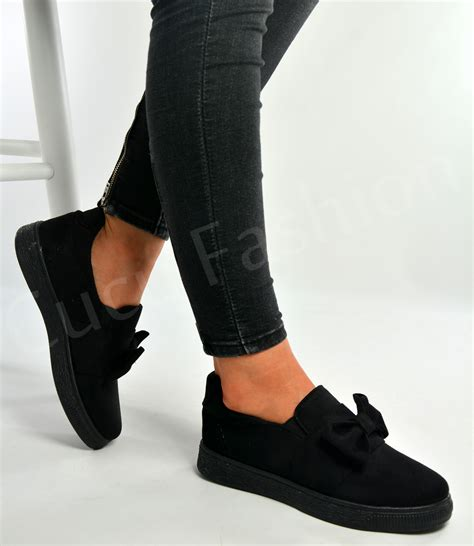 new womens flat sneakers slip on pumps bow trainers