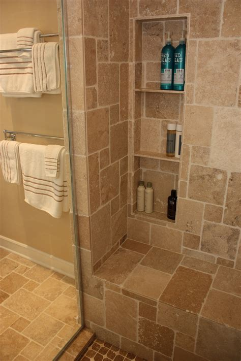 Bathroom Shower Niche Ideas Bathroom Design By Matthew Krier Of Design Three Travertine Tile Granite Tops