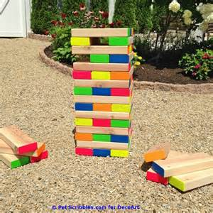 how to make a colorful outdoor jenga