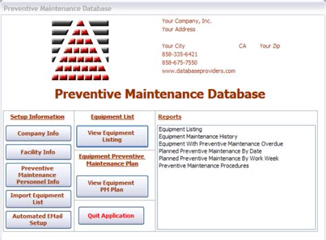 maintenance procedure template equipment asset preventive preventative maintenance