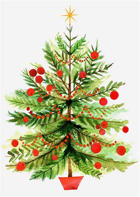 margaret berg art vintage christmas tree with berries
