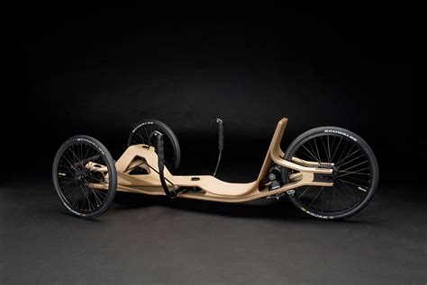 electric recumbent trike race wood tadpole rider