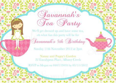 tea party birthday theme printable invitation and gift