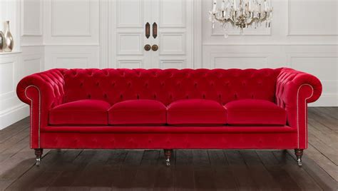 the red sofa classic modern living room design with red velvet tufted