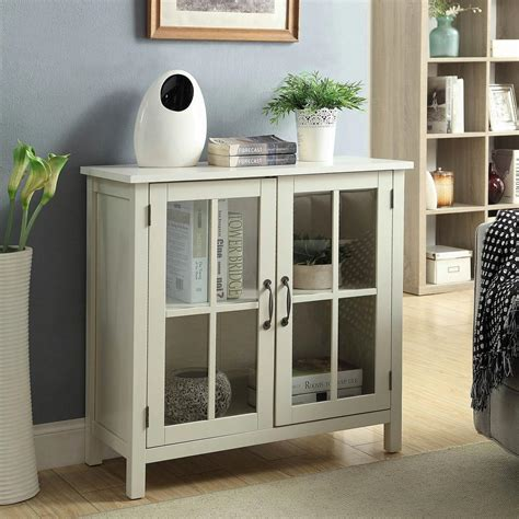accent cabinet with glass doors white accent cabinet and 2 glass doors sk19087c2 pw
