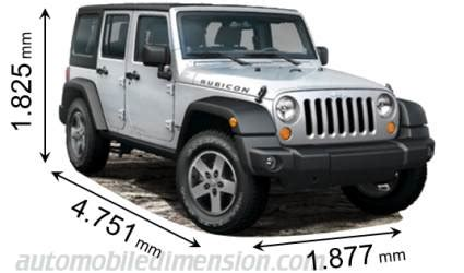 2013 jeep wrangler length dimensions of jeep cars showing length width and height