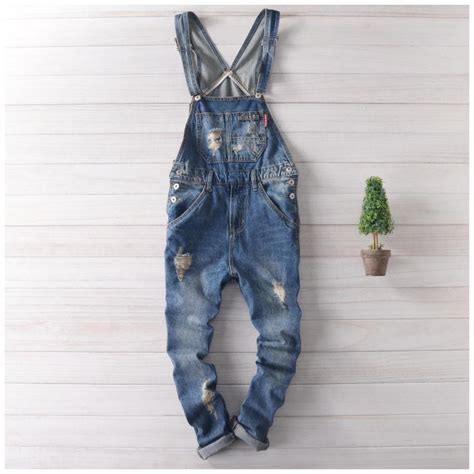 ripped suspender ヾ ノ17 solid blue ᗕ ripped ripped overalls denim
