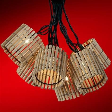 Bamboo Lantern Party Light Set Tropical Outdoor Rope Bamboo String Lights