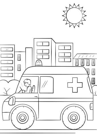 free coloring page ambulance cartoon ambulance car coloring page free printable