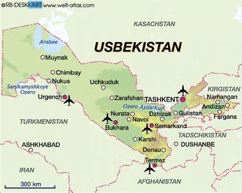 usbekistan regionen karte karte von usbekistan land staat welt atlas de