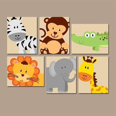 Animal Wall Decor For Nursery Jungle Animal Wall Canvas Or Prints Boy Nursery Artwork Safari Zoo Animals Gender