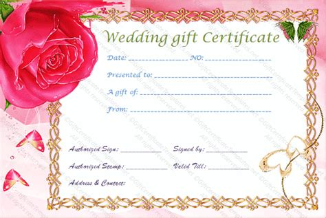 wedding gift certificate template gold frame wedding gift certificate template