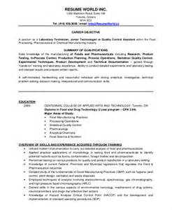 microbiologist resume sle chemical lab assistant resume sle