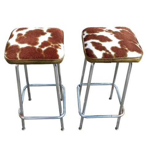 Cow Print Bar Stools by Vintage Cow Print Chrome Bar Stools A Pair Chairish