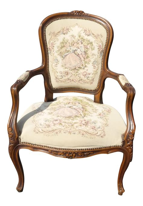 french provincial armchair french provincial carved wood tapestry armchair chairish