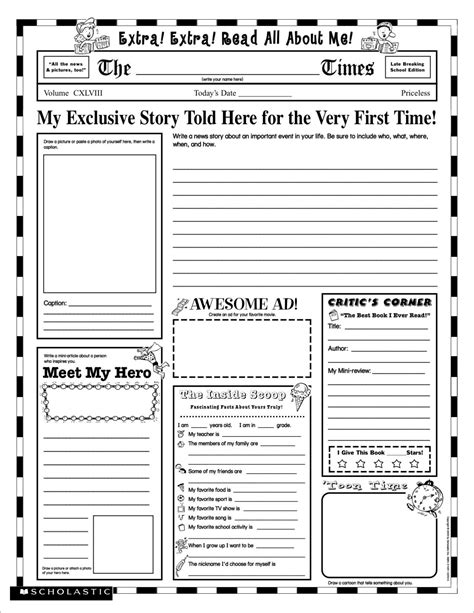 biography writing unit 5th grade all about me worksheet for adults lesupercoin printables